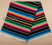 Woven Mexican Serape Blanket 5'x7' -Black
