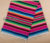 Traditional Mexican Serape Blanket 5'x7' -Hot Pink