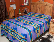 Southwestern Chevron Bedspread Purple -Front (queen is being shown for display)