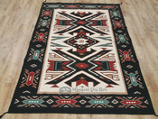 Large 6x9 Handwoven Wool Rug With Native Geometric Design