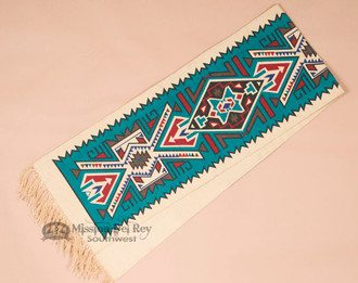 Southwest Textured Table Runner 13x72 -Turquoise Geometric