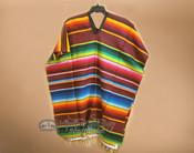 Mexican Style Serape Poncho -Burgundy
