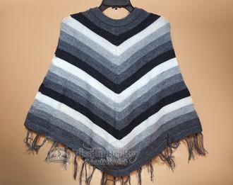Knit Alpaca Poncho -Black & Grey