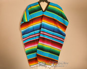 Mexican Style Serape Poncho -Turquoise