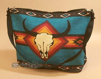 Blue Southwestern Purse With Steer Skull Design