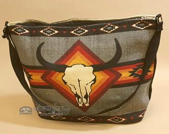 Gray Southwestern Purse With Steer Skull Design