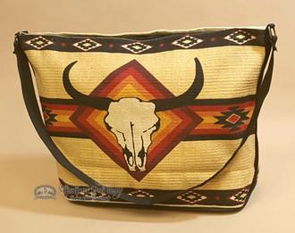 Tan Southwestern Purse With Steer Skull Design