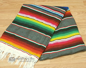 Southwest Mexican Serape Blanket 5'x7' -Gray