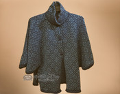 Alpaca Button Cape - Blue