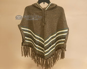 Hooded Alpaca Poncho - Brown