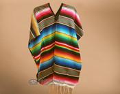 Mexican Style Serape Poncho - Gray