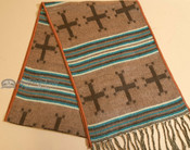 Rustic Southwest Scarf- Turquoise with Crosses