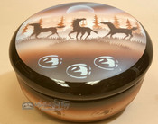 Handpainted Navajo Pottery Horses Bowl w/ Lid