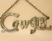 Rustic Western Hanging Metal Art Cowgirl Sign