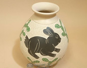 Hand Painted Mata Ortiz Potery Vase - Bunny - by Lupe Soto