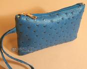 Southwestern Faux Leather Writlet Purse - Blue