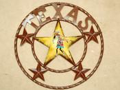"""Rustic Metal Texas Star 16"""" -Kokopelli"""