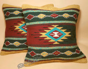 Pair Rustic Southwest Style Pillow Covers -Green