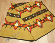 Southwestern Fleece Lodge Blanket - Mustard Longhorns