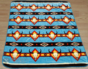 "Southwestern Style Luxury Plush Blanket 79""x94"" - Turquoise Steer Skull"