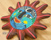 """Hand Painted Rustic Southwestern Sun 10"""" - Matte Red"""