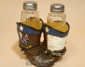 Southwestern Salt & Pepper Shakers - Cowboy Boots with Blue Bonnets