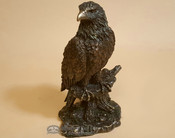"Bronze Rustic Western Statue 9"" - Bald Eagle Perched on Tree"