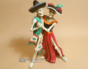 Day of The Dead Ceramic Statue - Dancing Skeletons 12""