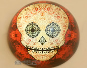 Round Glass Paper Weight- Day of The Dead Skull 3.25""