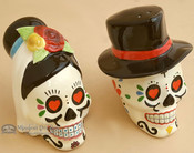 Day of The Dead Salt & Pepper Shakers - Sugar Skull Bride and Groom