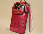 Western Hand Tooled Leather Phone Case - Pink Dog
