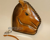 Rustic Western Hand Tooled Leather Coin Purse - Tan Horse Head