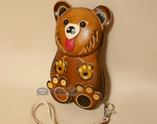 Hand Tooled Leather Southwestern Coin Purse - Tan Bear