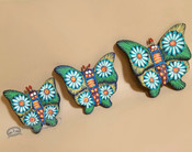Hand Painted Southwestern Butterflies -Set of 3 Green