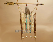 Navajo Indian Beaded Bone and Shell Breast Plate - Turquoise