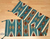 Southwestern Wool Table Runner 16x80 - Turquoise