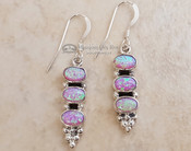Native American Navajo Silver Earrings - Triple Opal