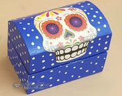 "Day of The Dead Wooden Jewelry Box 3"" - Blue"