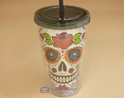 "Day of The Dead Drink Tumbler 9"" - White"
