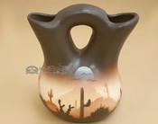 "Native American Navajo Wedding Vase 5"" -Sonora Brown Desert (p700)"