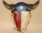 Rustic Western Steer Skull Plate Tray or platter - Texas Flag
