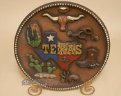 Decorative Rustic Western Style Plate With Stand - Texas Longhorn