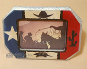 Rustic Western Style Picture Frame - Cactus & Cowboy Hat