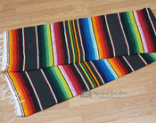 Southwest Mexican Serape Blanket 5'x7' -Dark Grey