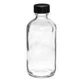 4oz Glass Boston Round Bottle, Polyethylene Cone Lined Caps, case/24