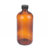16 oz Amber Glass Boston Round Bottles, PE Cone Liner, case/12