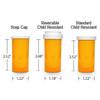 Amber Pharmacy Vials, Child Resistant Caps, 13 dram (3/4 oz), case/320