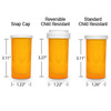 Amber Pharmacy Vials, Child Resistant Caps, 16 dram (1 oz), case/270