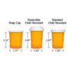 Amber Pharmacy Vials, Child Resistant Caps, 20 dram (1.25 oz), case/360