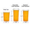 Amber Pharmacy Vials, Child Resistant Caps, 30 dram (1.875 oz), case/240